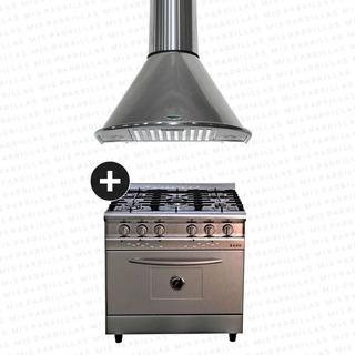 Cocina Morelli Saho 82 Acero + Campana Apsis 90 - Ahora 18