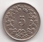 Suiza Moneda De 5 Rappen Año 1943