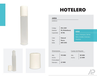Envases Hoteleros 30 Cc Tipo Jara Mayor Y Detal 50 Unidades