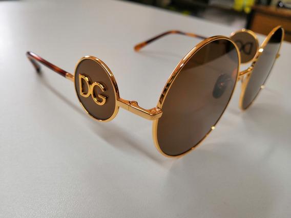 Óculos De Sol Dolce Gabbana 2205 Dourado Com Marrom