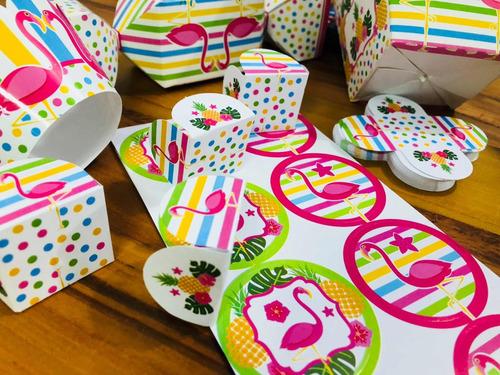 Imagem 1 de 10 de  Kit Festa  Forminha  Para Doces Tema Flamingo Chocobraz