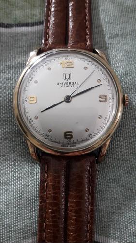 Relógio Universal A Corda Manual, Caixa Em Plaque De Ouro.