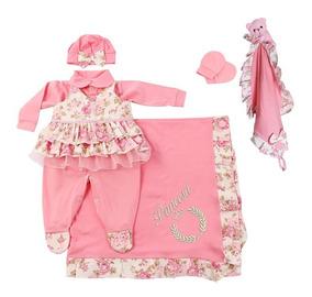 Saída De Maternidade Menina Floral + Naninha Urso Rosa