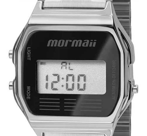 Relógio Digital Prata Preto Mormaii Vintage Aço Metal Quadrado Mojh02aa/3p Original