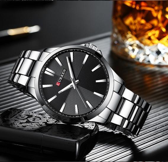 Relógio Masculino De Pulso Curren Aço Inoxidável 8322 Prata