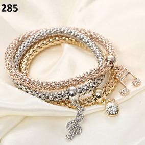 Pulseira Bracelete Feminino 3pç Nota Musical Prata Ouro Rose