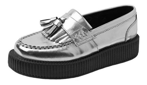 Zapato Dama Urbano Loafer Low Sole Viva Creeper Plateado Tuk