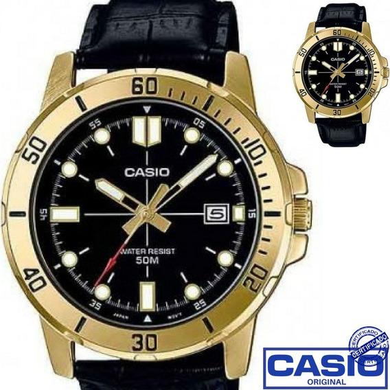 Relógio Casio Masculino Dourado Couro Preto Mtp Vd01gl 1evud