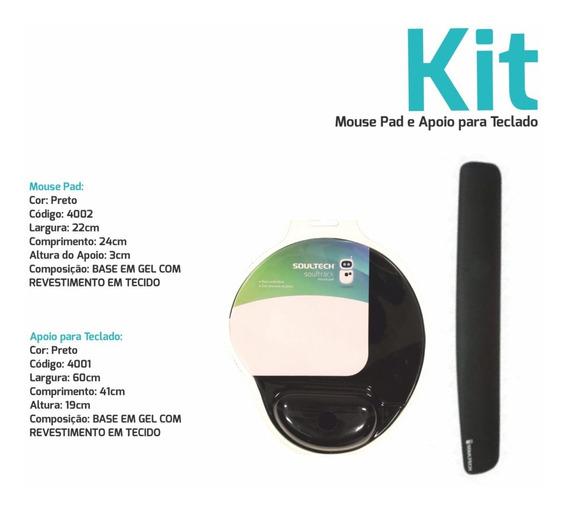 Kit Mouse Pad + Apoio Ergonômico Teclado Em Gel - Preto