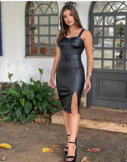 Vestido Midi Couro Ecológico C/ Fenda Preto M