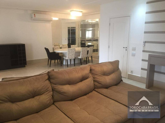 Apartamento Com 3 Suítes Para Alugar, 196 M² Por R$ 5.490,00/mês - Condomínio Único Campolim - Sorocaba/sp, Apartamento Mobiliado Próximo Ao Walmart - Ap0390