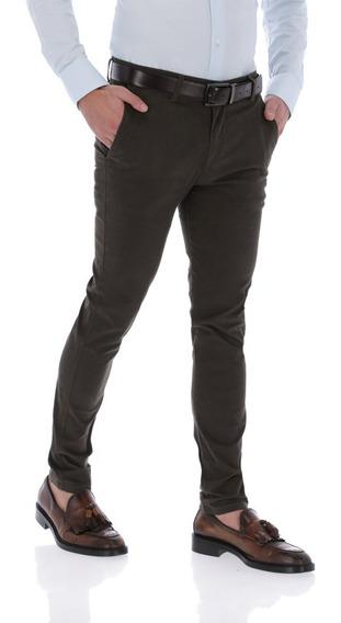 Pantalon Portoblanco Gabardina Algodon Verde Oscuro