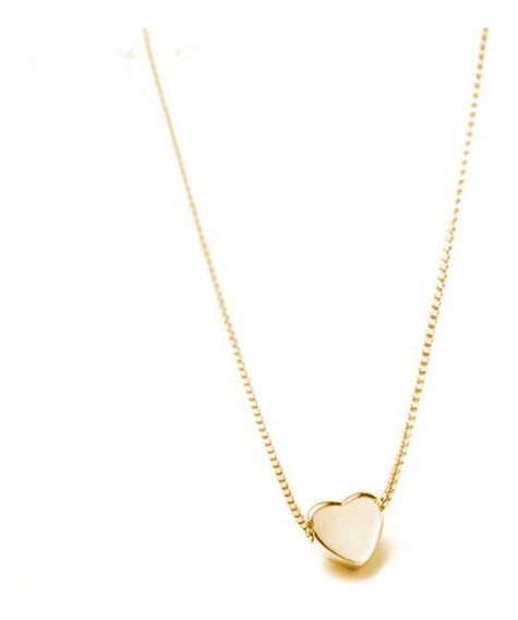 Colar Cordão Pingente Coração Cor Ouro Feminino Menina Charm