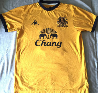 Camisa Everton 2011/12 Le Coq Stone #18 Amarela Rara