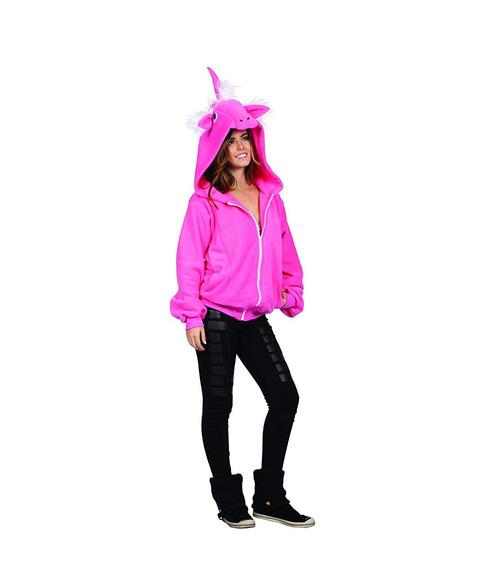 Unicornio Hoodie Chamarra Mujer Rosa Fuerte Talla S