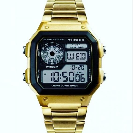 Relógio Tuguir Digital Tg1335 Dourado Unisex Original