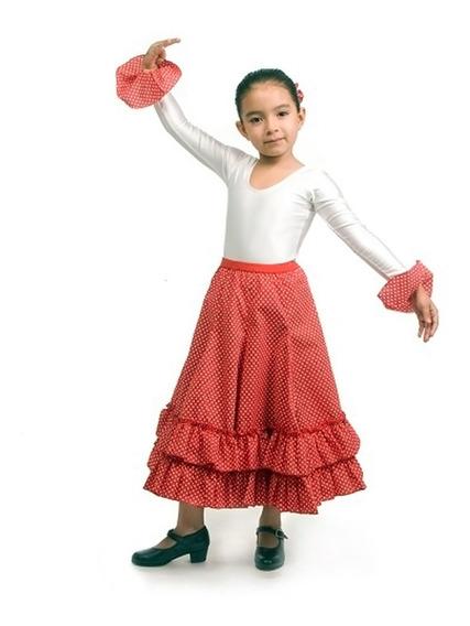 Andanzza Falda Flamenco Lunares De 2 Holanes Para Niña Baile