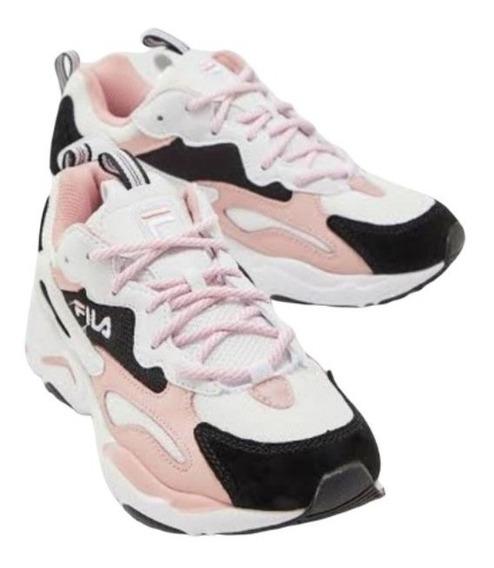 Tenis Fila Ray Tracer Para Mujer Blanco Rosa