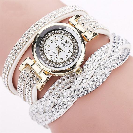 Relógio Feminino Pulseira Quartz Branco + Brinde