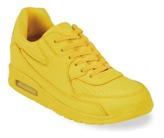 Tenis Sneakers Dama Mujer Tipo Piel Amarillo Moda Comodo