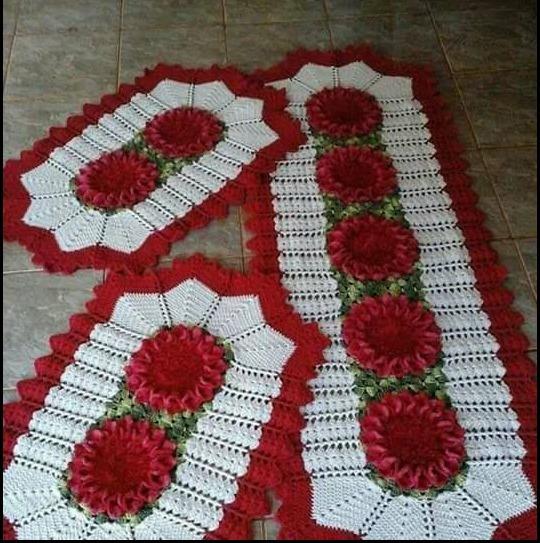 Kit Tapetes Para Cozinha Crochê Flores