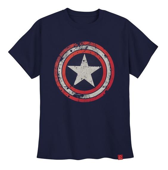 Camiseta Capitão América Camisa Escudo Desgaste Steve Rogers