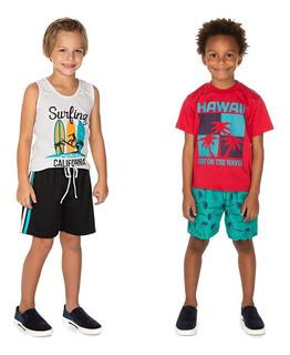 Roupa Infantil Menino Kit 2 Conjuntos Camiseta Bermuda Surf