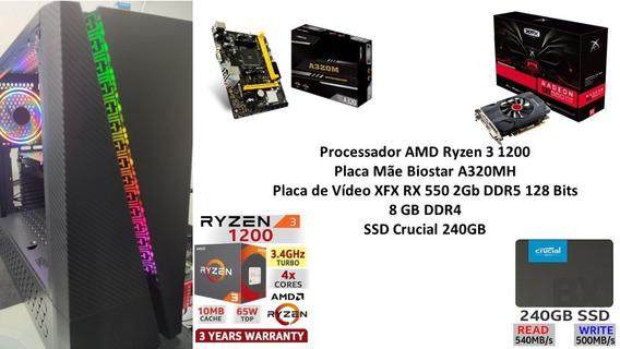 Pc Gamer Amd Ryzen 3 1200 8gb Ssd 240gb Rx 550 2gb