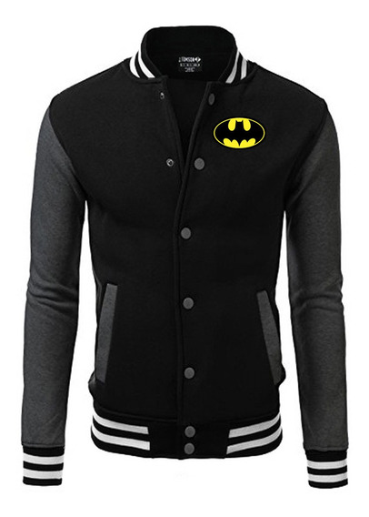 Batman Jaqueta College Bordado Black Edition Americana