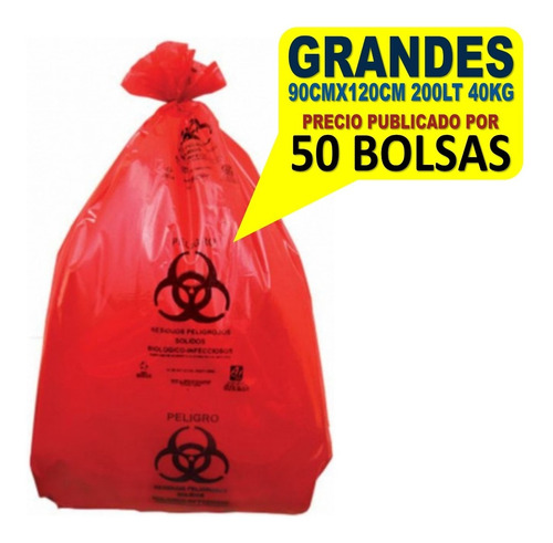 Bolsas Para Desechos Patológicos Grandes 90x120 200l 40kg