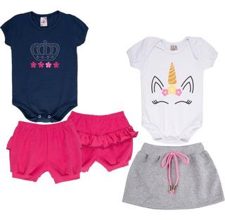 Roupa Bebê Menina Kit 2 Conjuntos Body E Shorts Curto Verão
