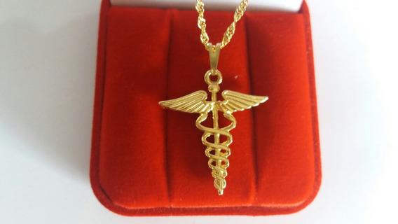 Colar Feminino Medicina Banhado A Ouro 18k + Caixa De Veludo