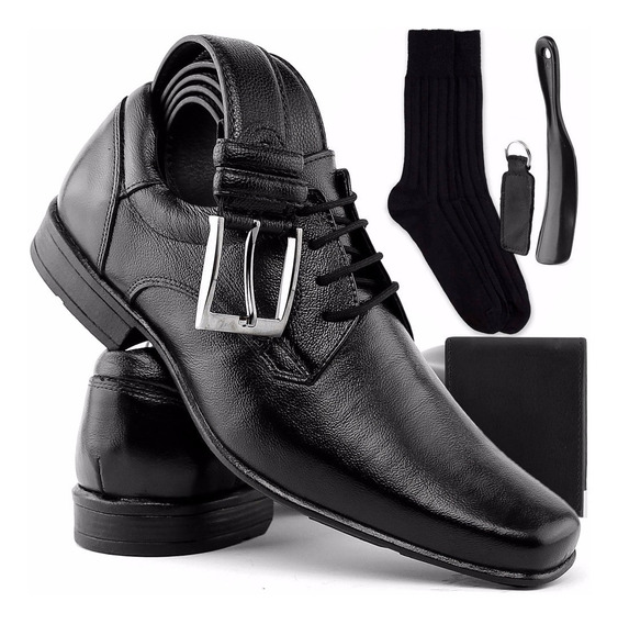 Kit Promocional Sapato Cinto Carteira Meia Calçadeira Chave