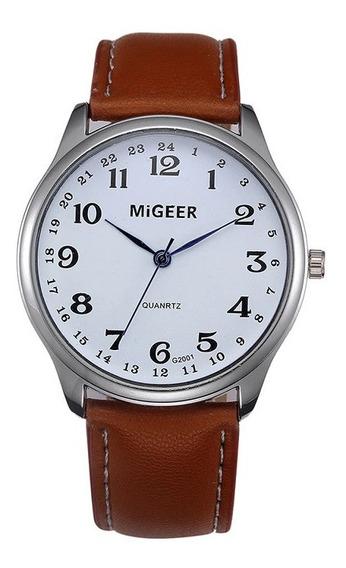 Reloj Casual Cuarzo Marca Migeer Modelo G2001 Blanco Café