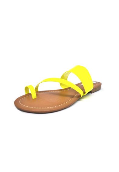 Rasteirinhas Femininas Chinelo Tiras Neon Amarelo Dani K
