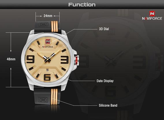 Relógio Naviforce Esporte Masculino Original Nf9098 Bege