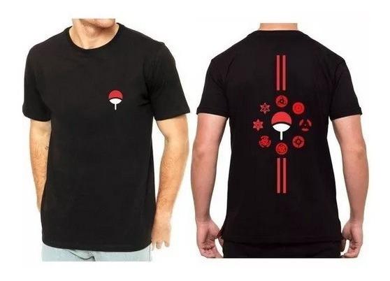 Camiseta Camisa Akatsuki Clã Uchiha Sasuke Itachi Naruto