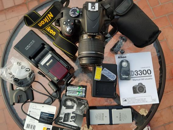 Camara Nikon D3300+flash Nissin Di866 Mark Ii+grip+2 Bateria