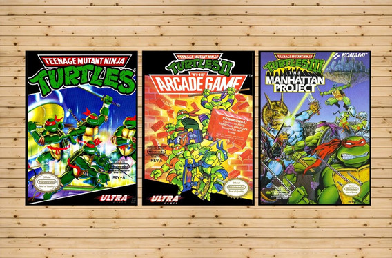 Conjunto 3 Quadros Decorativos Tartarugas Ninja Nintendo Nes