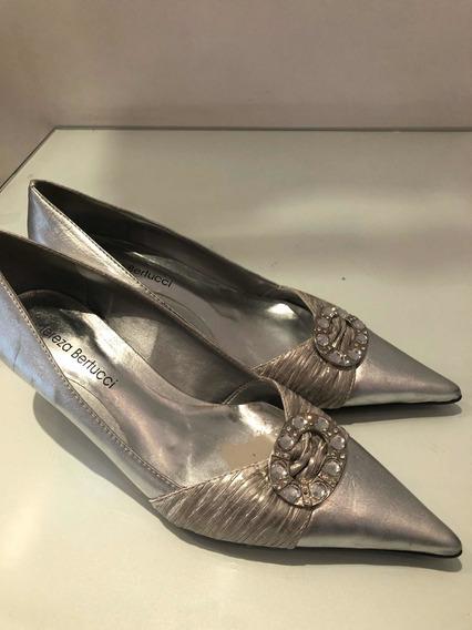 Sapato Couro Prata