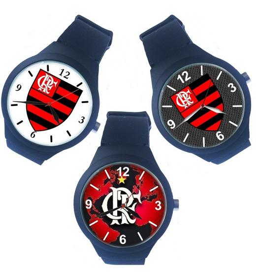 Kit 3 Relógio Pulso Flamengo Feminino Barato Promoção
