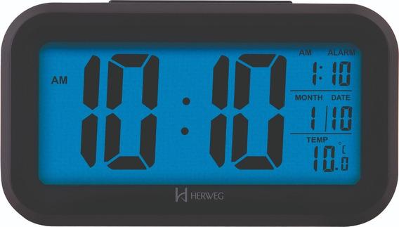 Relógio Despertador Digital Sensor De Luz Preto Herweg 2980