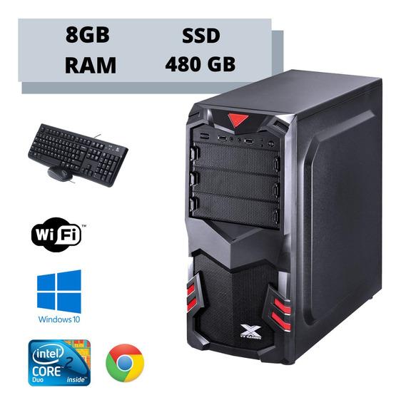 Cpu Core 2 Duo 8gb Ssd 480gb Win10 Teclado E Mouse Aproveite