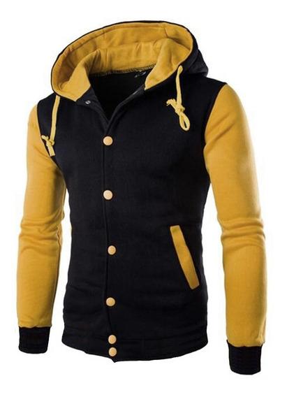 Jaqueta Masculina College Amarela Com Capuz Modelo Novo 2020