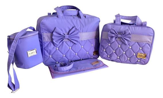 Kit 4 Bolsa Bebe Mala Maternidade Luxo Com Trocador E Frasqueira Kit Bebê Completo Frete Grátis
