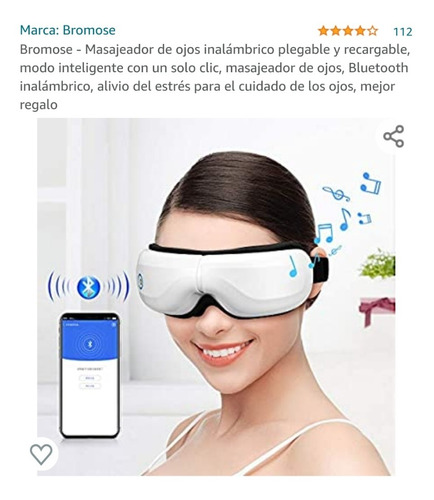 Masajeador De Ojos Inalámbrico Con Parlantes Bluetooth