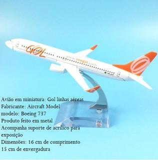 Avião Miniatura Boeing 737 Gol Feito Em Metal