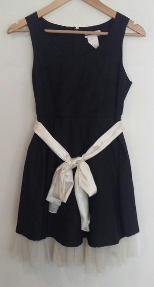 Vestido Negro Con Lazo Y Bajo Falda Blanco Secret Talle M