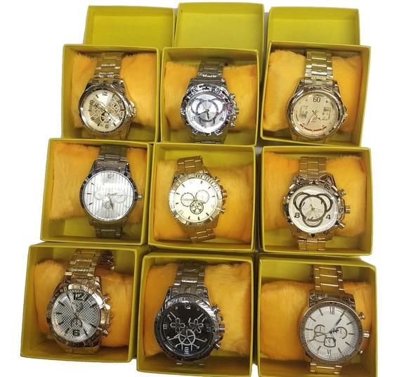 Kit Com 10 Relógios Masculino Luxo + Caixa Atacado E Revend