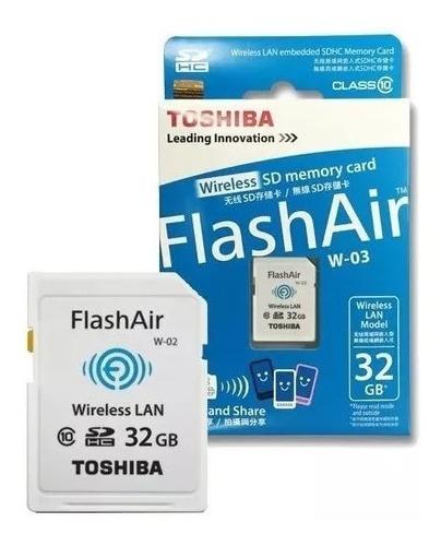 Cartão Toshiba Flashair Wi-fi 32gb Sd Classe10 W03 No Brasil